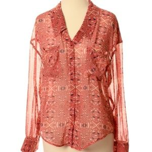 Free People Sheer Abstract Button Up Blouse
